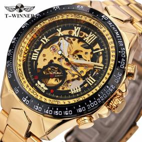 Reloj Winner Skeletor Automatico Hombre Dorado + Regalo
