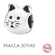 Dije Charms Para Pulsera Pandora Modelo Gato En Plata 925