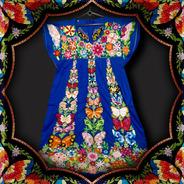 Vestido 48/50 Frida Kahlo Com Bordado Colonial Portugues