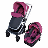 Carriola D Bebe Crown + Portabebe + Base Coche - Rosa