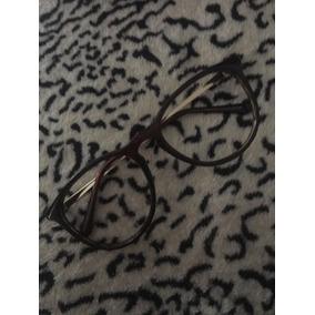 Armação Feminina Óculos De Grau Arredondada Marrom Dourada