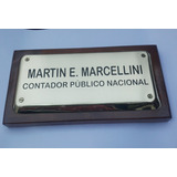 Placa Profesionales En Bronce Biseladas Grabadas Exc.calidad