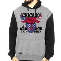 Blusa Moleton Casaco Frio Raglan Chicago Bulls Thug Life Top