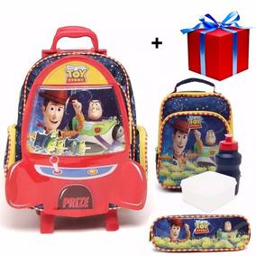 Kit Mochila Toy Story Foguete Com Rodinhas Tam G + Brinde