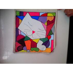 Bolsa Pintada A Mano Figura De Gato