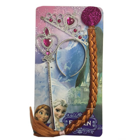 Kit Acessórios Frozen Anna Varinha, Coroa E Trança