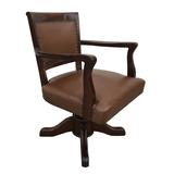 Antiga Cadeira Giratoria Inglesa Em Madeira E Couro