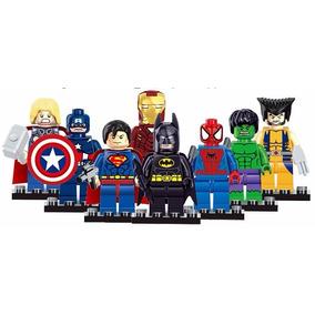 Kit Com 8 Bonecos Lego Homem De Ferro Hulk Capitão América