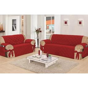 Kit Capa Protetor De Sofa Jogo 3 E 2 Lugares Vermelho C Laço
