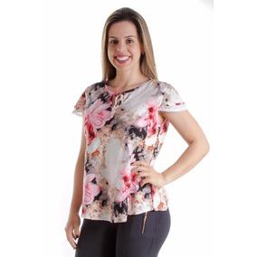 Blusa Blusinha Renda Manguinha Renda Estampadas Viscose