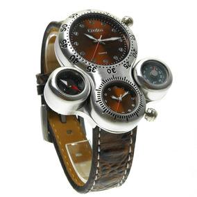 Reloj Caballero Oulm Hp1149 Brújula Termómetro 2 Horarios