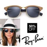Oculos Ray Ban Clubmaster Wood Madeira 3016 Camila + Brinde
