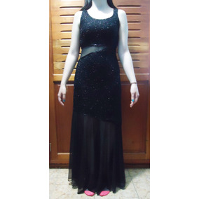 Vestido Largo Fiesta Gala Translucido Con Pedreria