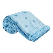 Cobertor Manta Azul Dupla Face Estrelinhas Macio - Buba