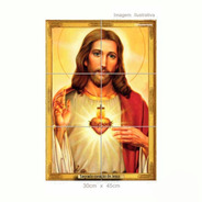 Quadro Azulejo Sagrado Coração De Jesus
