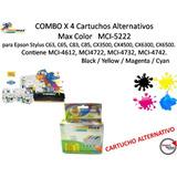 Combo X 4 Cartuchos Alternativos Max Color Mci-5222 P/epson