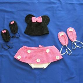 Fantasia Conjunto Minnie Ensaio New Born Bebê Crochê Barato