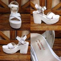 Sandalia De Plataforma En Cuero Blanco - Calzados La Fabrica