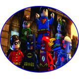 Elipse Lego Liga Da Justiça 60x50cm Em Pvc 1mm, Painel Festa