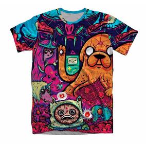 Camiseta Roupa 3d Full Adventure Jake Psicodelico Unissex
