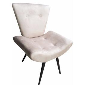 Cadeira Estofado Poltrona Barato Bege Areia Suede Promoção