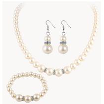 Set Collar Aretes Pulsera De Perlas Hermoso