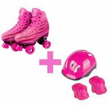 Patins 4 Rodas Clássico 36-37 Skate Roller + Acessórios Pink
