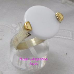 Anillo Plata Y Oro Con Piedra Semipreciosa Agata Nro 18