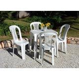 Conjunto Mesa E 4 Cadeiras Bistro Plastico Branco