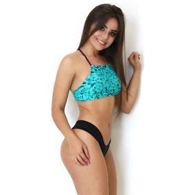 Biquini Cropped Panicat Estampado Feminino Praia Verão Trend