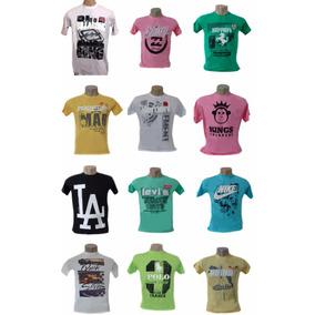 Camiseta Masculina Marcas Famosas Kit 10 Peças Promoção