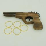 Arma Arminha Madeira Brinquedo Elástico 5 Tiros Atiradeira