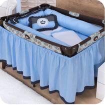 Quarto De Bebê Kit De Berço Desmontável Realeza 09 Pç Azul