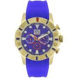 Reloj Yess Hombre 2525 Azul Y Dorado
