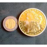 Moneda De Un Dollar Con Baño De Oro