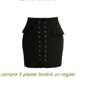 Moda Mujeres Encaje Arriba Gamuza Cuero Falda Alto Cintura V