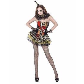 Disfraz Mujer Payaso Asesino Traje Payasita Miedo Halloween