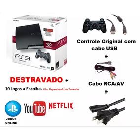 Playstation Ps3 Slim Destravado 500gb 2 Controles 40 Brinde