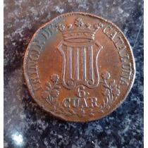 Moneda España 6 Cuartos1846 Cataluña Cobre