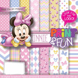 Kit Imprimible Fondos Minnie Baby Bebe Shower Rosa Clipart
