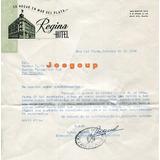 Carta Y Sello Hotel Regina Mar Del Plata 1956 A San Nicolas