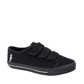 Tenis Casuales 3 Broches Dama Hpc Polo Negro Textil Ur199 A