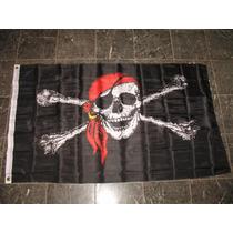 Bandera Pirata Pañoleta Roja 150x90 Cm Piratas Del Caribe