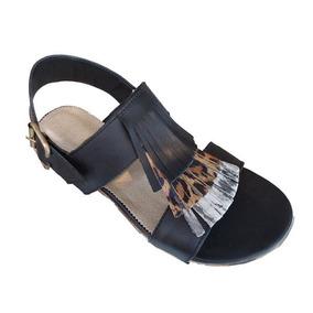 Sandalias De Cuero Vacuno 39 Zapatos Chatitas Negras Nuevas