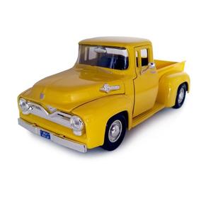 Pickup Ford Antiga F100 1955 1 24 Camionete Ferro Amarela