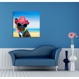 Cuadro Bulldog Frances Playa Top Lentes Arena Perro 60x60cm