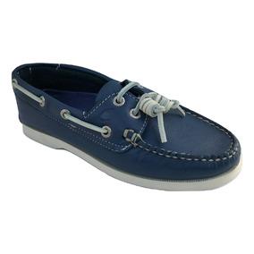 Zapato Casual Nautico Top Sailer Mujer Piel Azul Acero