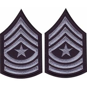 Insignia Militares Rangos Par Parches Bordados Plata Negro