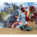 Adesivo Papel De Parede Infantil Vingadores Thor Hulk - 4m²