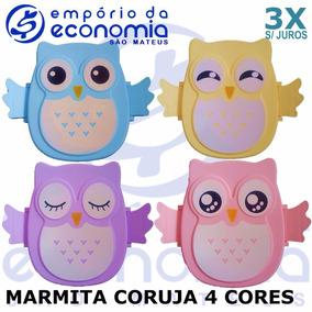 Pote Para Lanche Coruja Marmita Lancheira Marmitex Biscoito